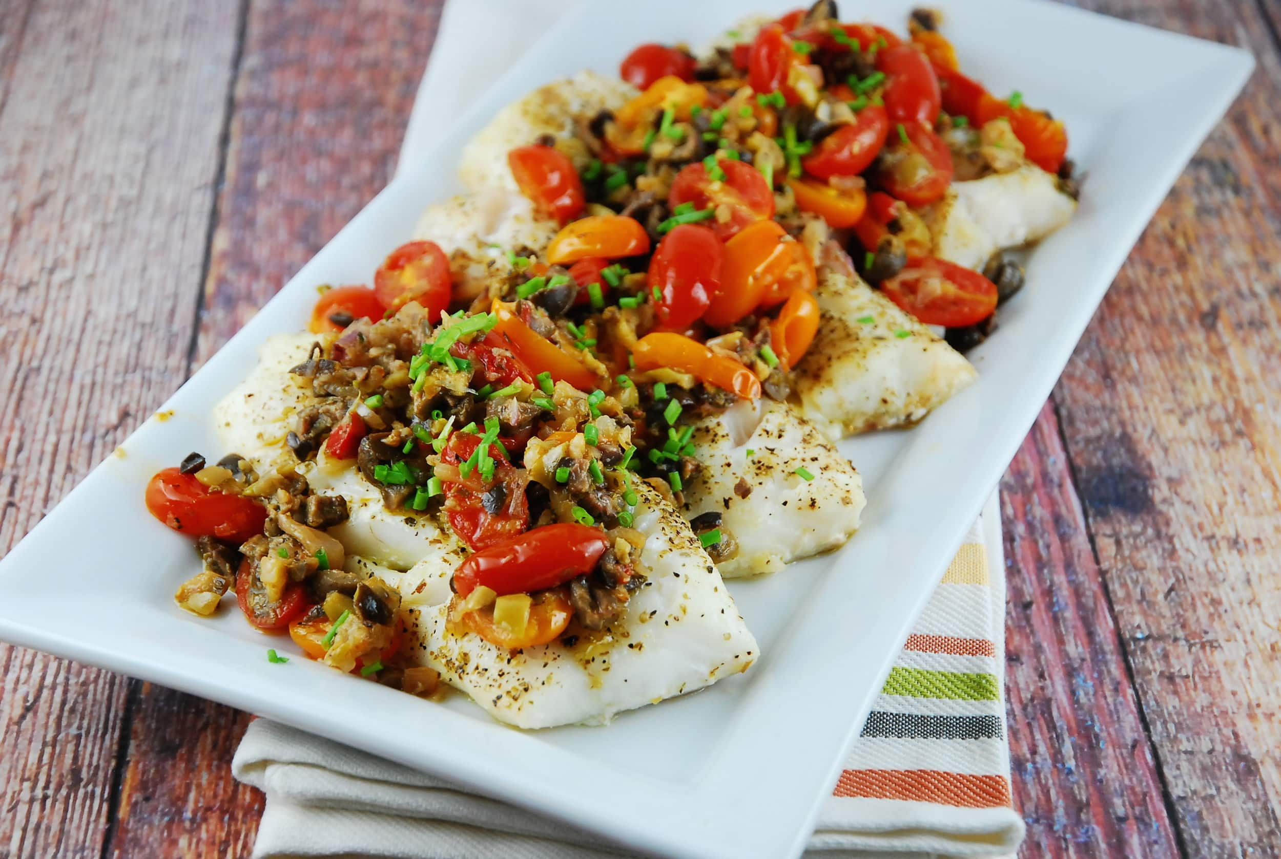 Cod Fish Recipes Healthy  Baked Cod with Olive and Tomato Tapenade 4 Points LaaLoosh