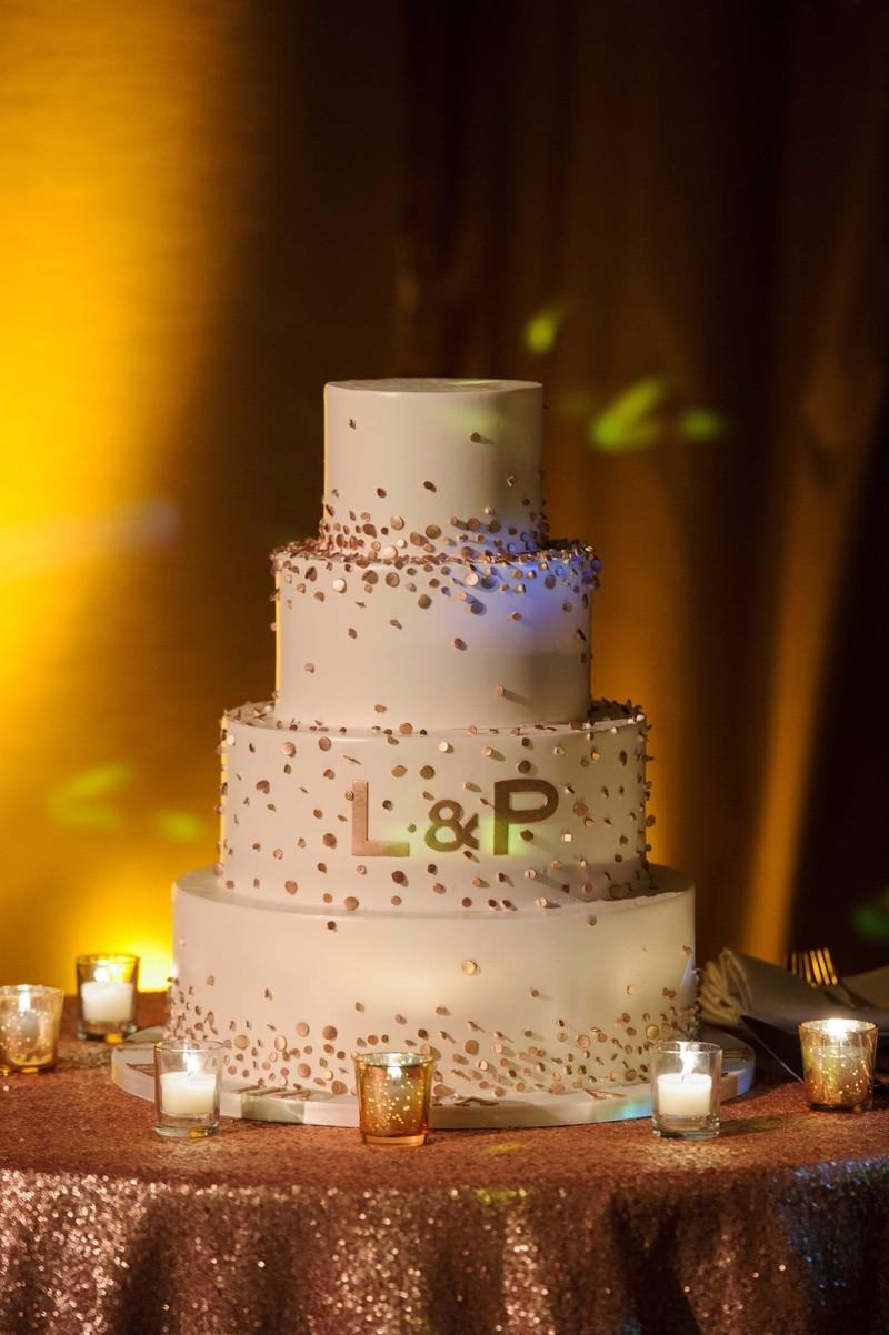 Confetti Wedding Cakes  Cakes & Desserts s Gold Confetti Wedding Cake