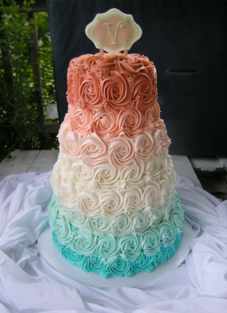Coral And Teal Wedding Cakes  hombre rosette wedding cake aqua teal coral pink orange