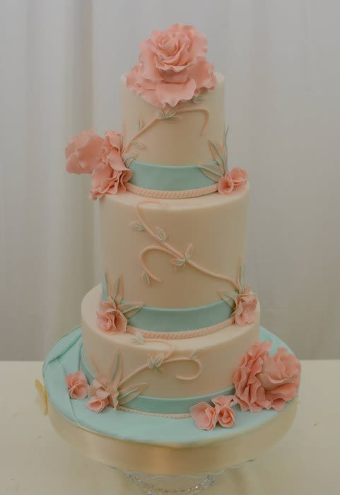 Coral And Teal Wedding Cakes  Teal and Coral Cake Cake by Sugarpixy CakesDecor