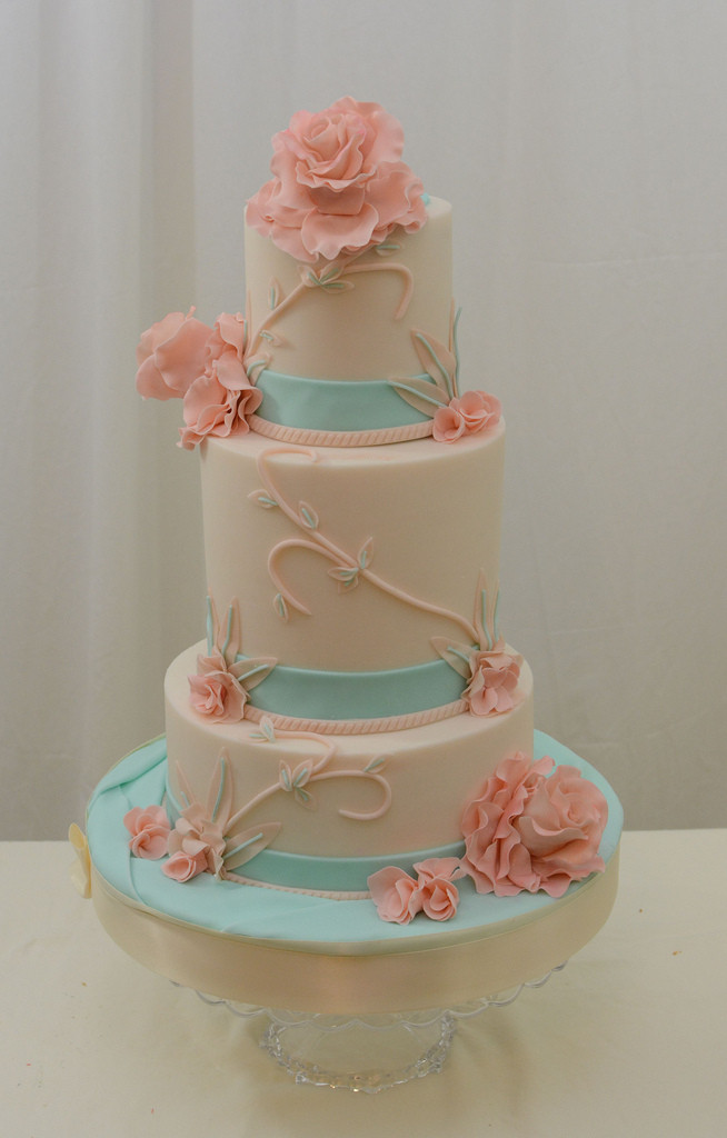 Coral And Teal Wedding Cakes  Teal and Coral Wedding Cake