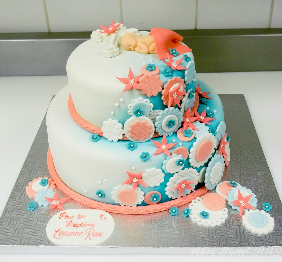 Coral And Teal Wedding Cakes  Coral And Teal Baptism Cake CakeCentral