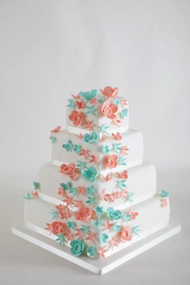 Coral And Teal Wedding Cakes  coral and teal wedding cakes