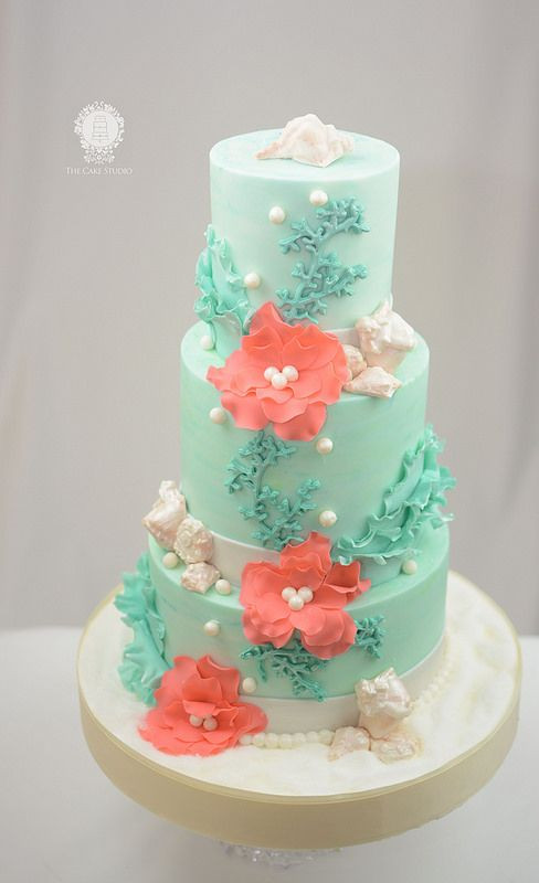Coral And Teal Wedding Cakes  Teal an Coral Beach Themed Cake