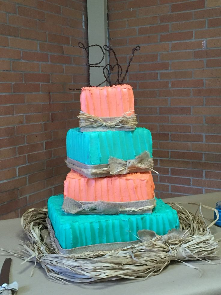 Coral And Teal Wedding Cakes  Coral and Turquoise three tier Rustic wedding Cake