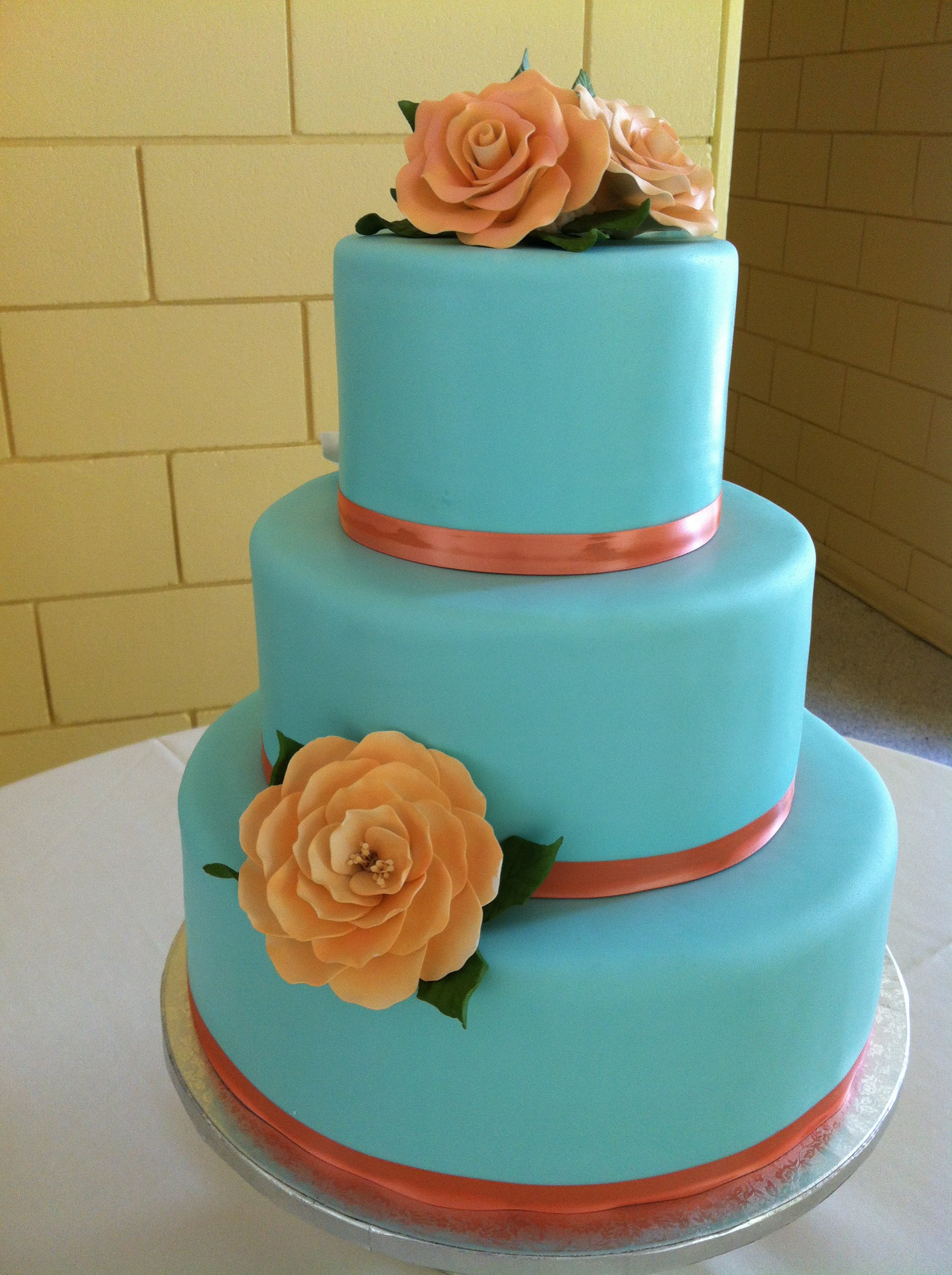 Coral And Teal Wedding Cakes  Southern Blue Celebrations Teal Wedding Cake Ideas