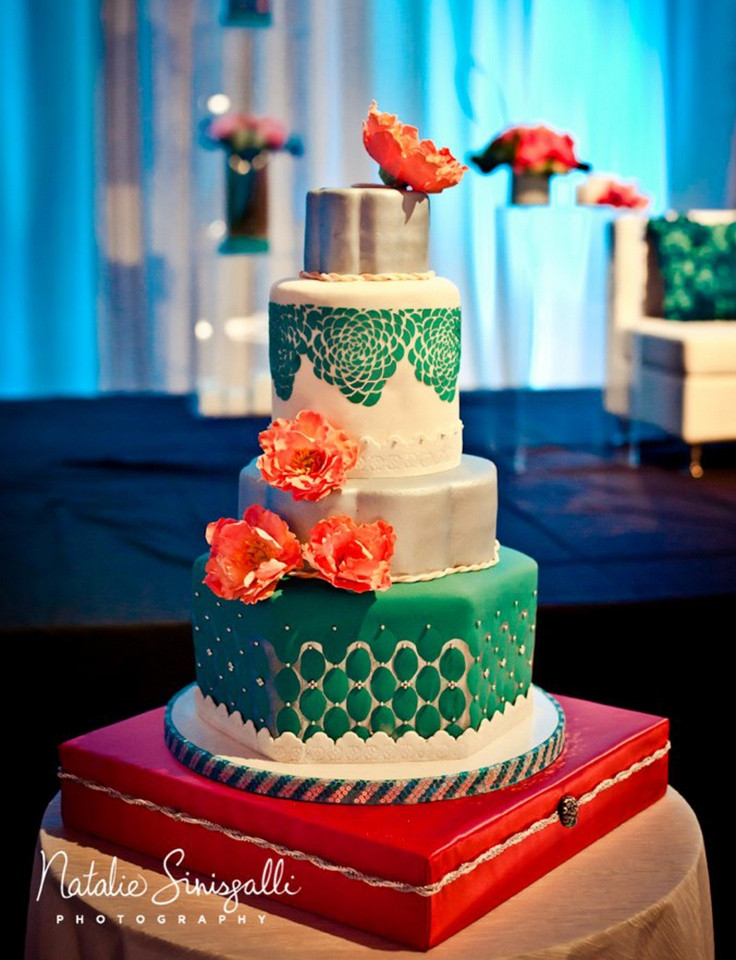 Coral And Teal Wedding Cakes  Coral & Teal Wedding Cake Wedding Cakes