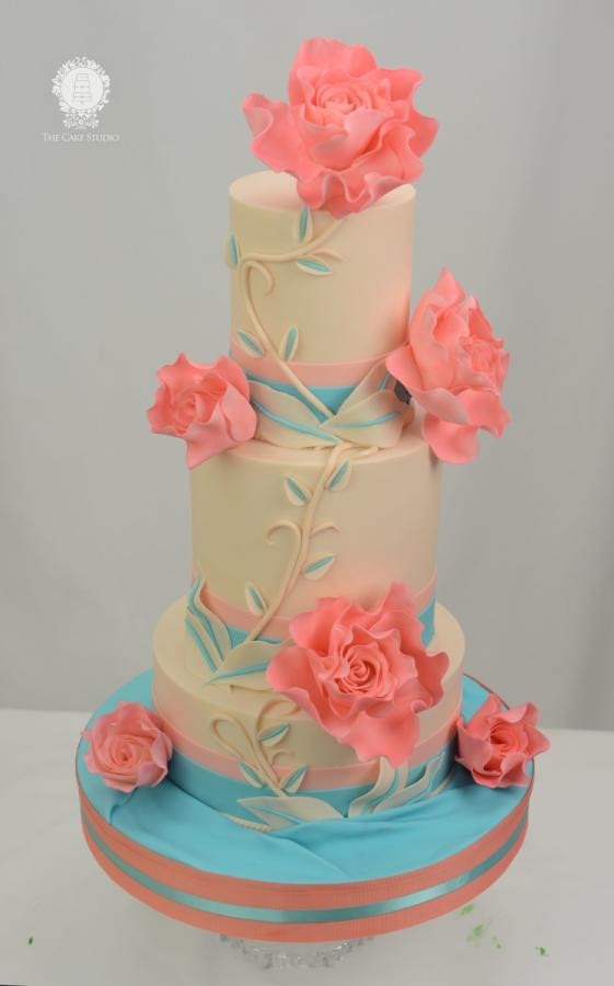 Coral And Teal Wedding Cakes  Teal and Coral Wedding Cake cake by Sugarpixy CakesDecor