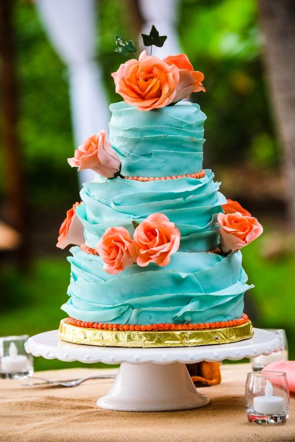 Coral And Teal Wedding Cakes  teal cake with coral accents