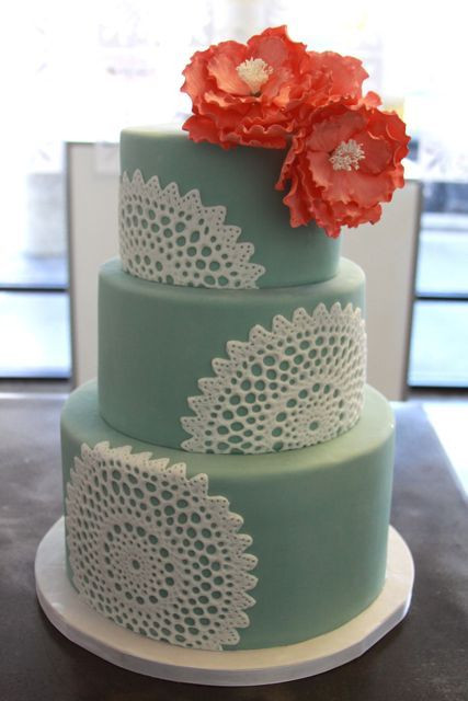 Coral And Teal Wedding Cakes  Coral and teal wedding cake A tiny bit darker teal though