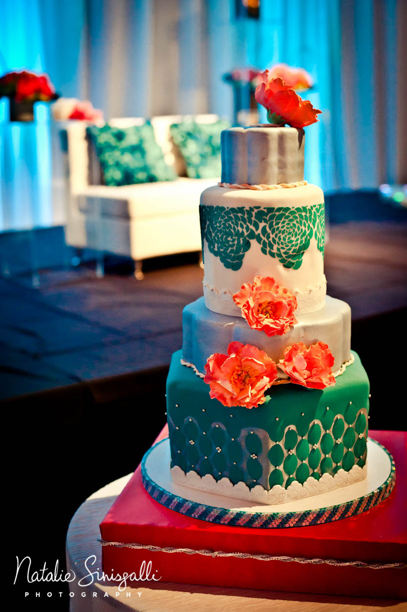 Coral And Teal Wedding Cakes  Coral Teal Wedding Hyatt Rochester NY