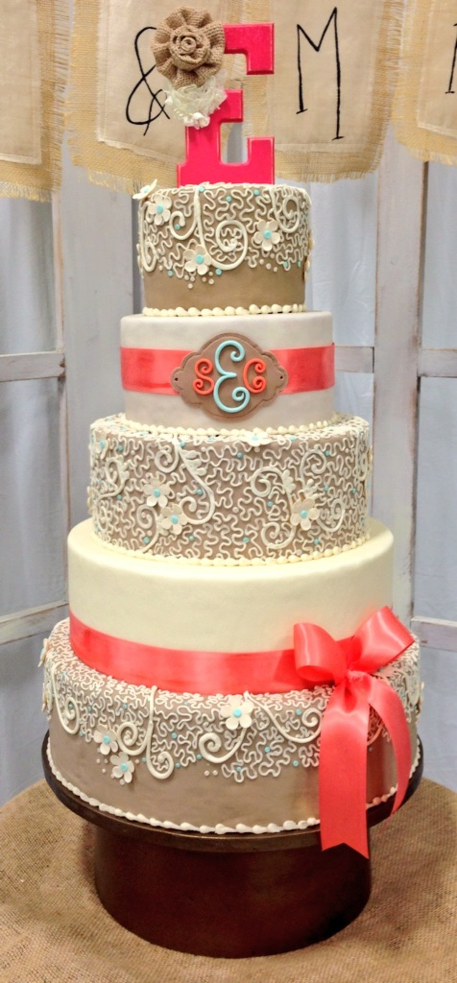 Coral Wedding Cakes  Burlap And Coral Wedding Cake CakeCentral