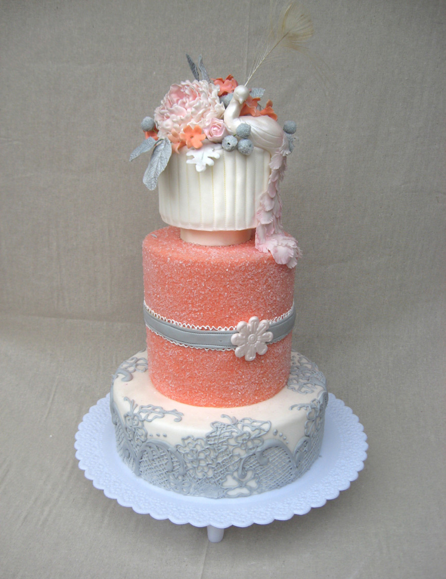 Coral Wedding Cakes  Coral Wedding Cake With Peacock Topper CakeCentral