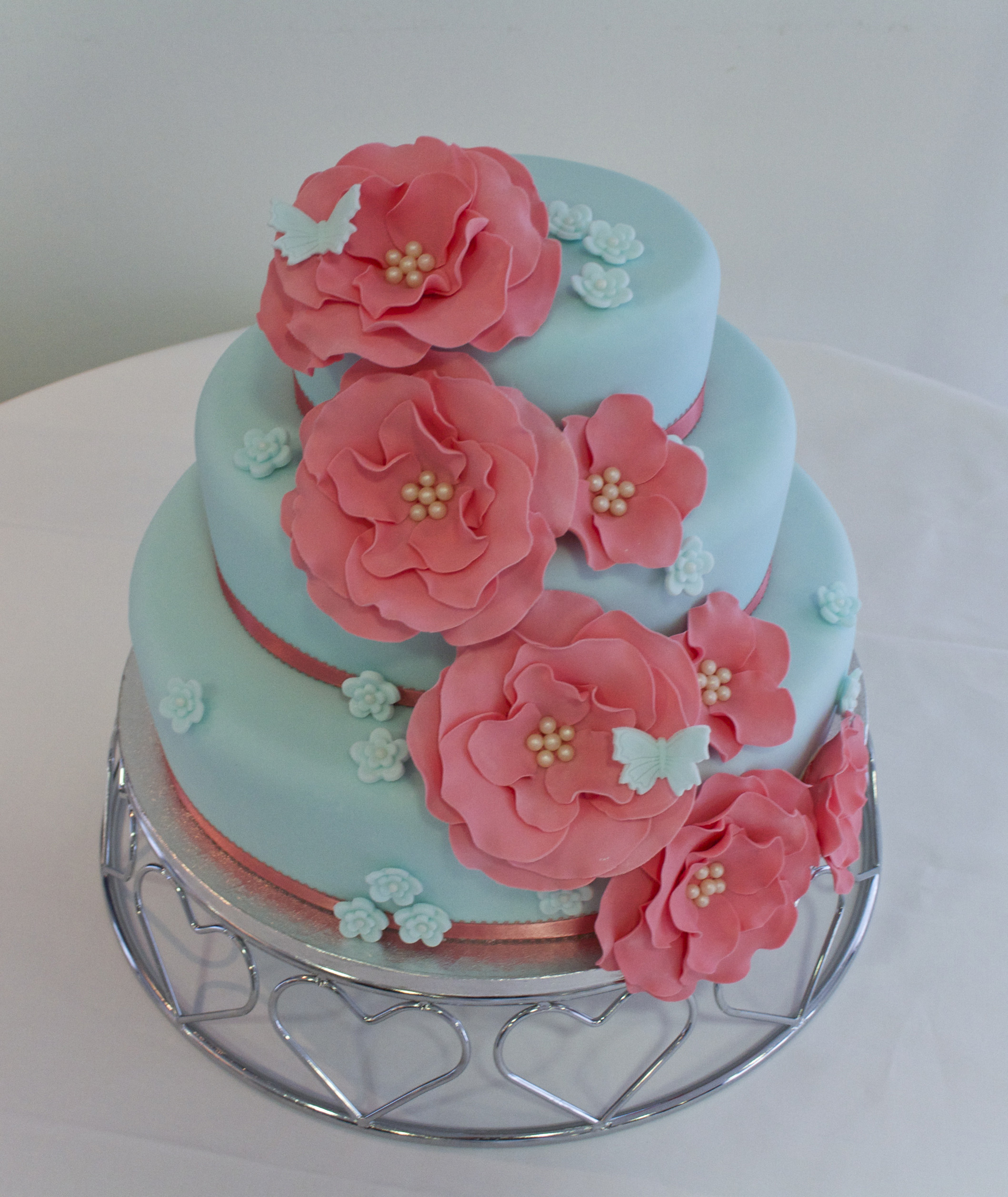 Coral Wedding Cakes  Duck egg blue and coral wedding cake