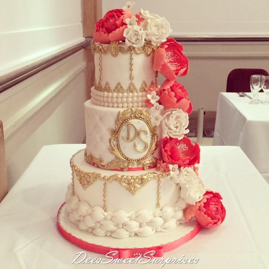 Coral Wedding Cakes  Coral white and gold wedding cake cake by Dee CakesDecor