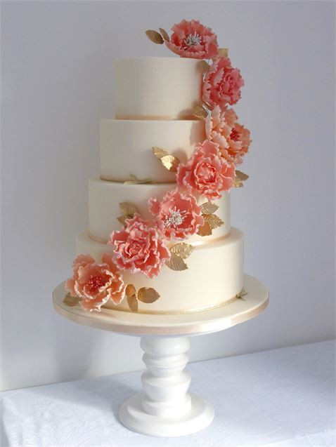 Coral Wedding Cakes  Flora Coral Gold & Ivory Wedding Cake from Cookie