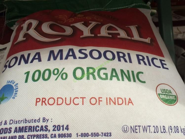 Costco Organic Brown Rice  Royal Organic Sona Masoori Rice 20 Pound Bag – CostcoChaser