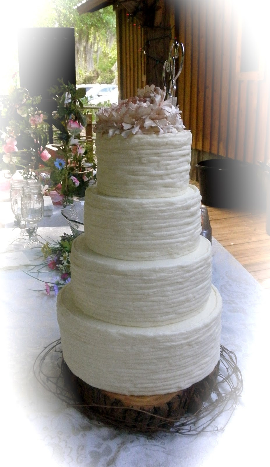 Country Chic Wedding Cakes  Sweet T s Cake Design Shabby Chic Peony Rustic Wedding Cake
