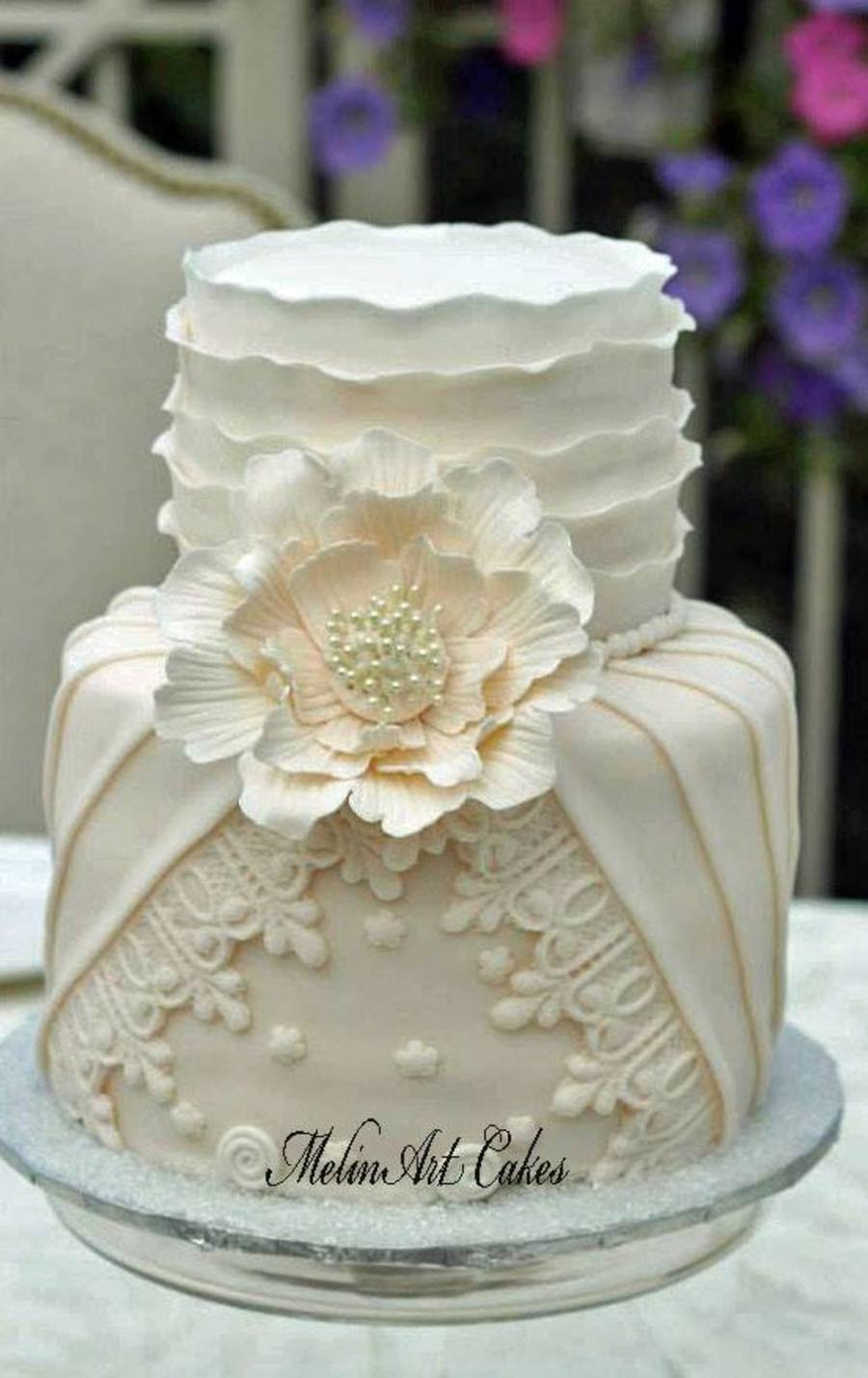 Coutoure Wedding Cakes  Pleated Ruffled Couture Wedding Cake CakeCentral