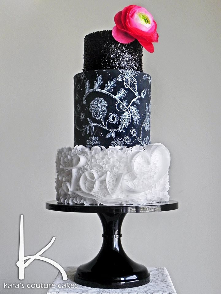 Coutoure Wedding Cakes  Kara s Couture Cakes Wafer & Painted Lace Tutorial
