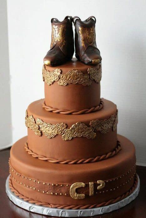 Cowboy Wedding Cakes  Cowboy wedding cake with edible boots on top Cake by