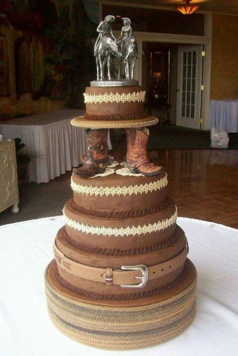 Cowboy Wedding Cakes  Horse Lover s Country Cowboy 5 tiered wedding cake with