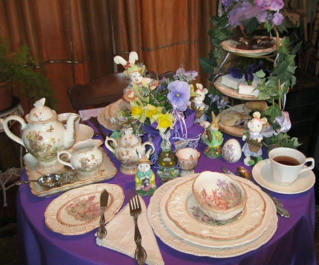Cracker Barrel Easter Dinner  Purple and Cream Rabbit Tea
