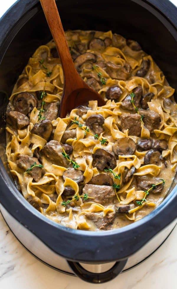 Crock Pot Beef Stroganoff Healthy  Slow Cooker Beef Stroganoff from Scratch