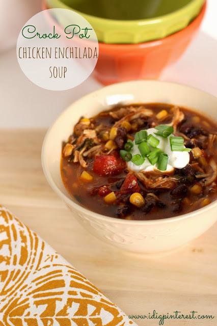 Crockpot Chicken Enchiladas Healthy  Skinny Crock Pot Chicken Enchilada Soup I Dig Pinterest