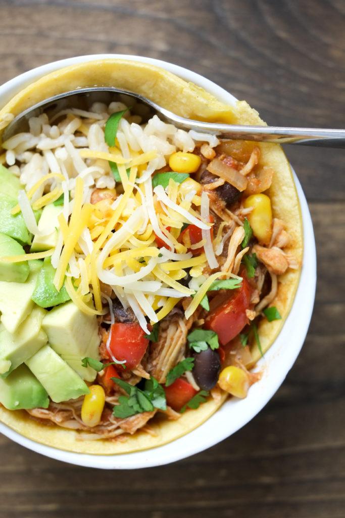 Crockpot Chicken Enchiladas Healthy  Slow Cooker Chicken Enchilada Bowls