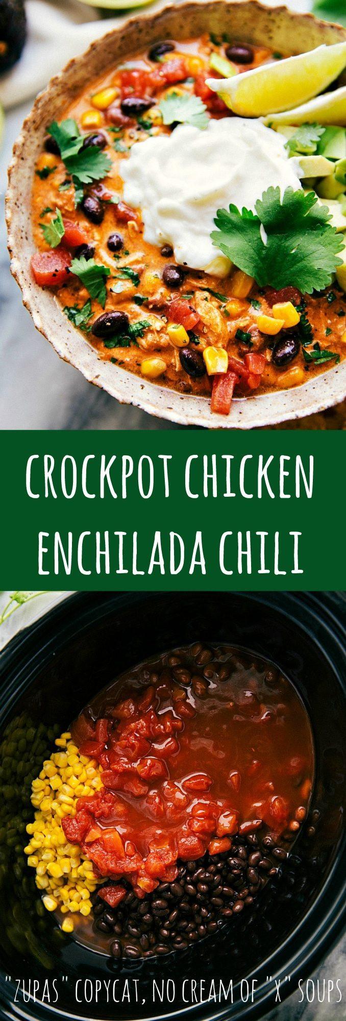 Crockpot Chicken Enchiladas Healthy  Easy Crockpot Creamy Chicken Enchilada Chili