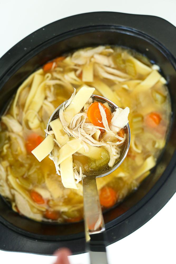 Crockpot Chicken Soup Recipes Healthy  Crock Pot Chicken Noodle Soup Recipe Happy Healthy Mama
