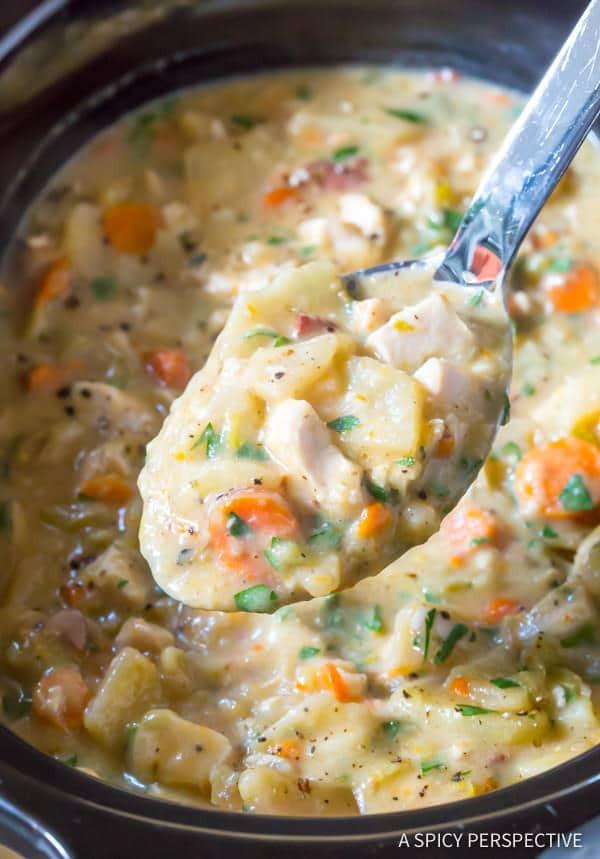Crockpot Potato Soup Healthy  Healthy Crockpot Potato Soup with Chicken Video A