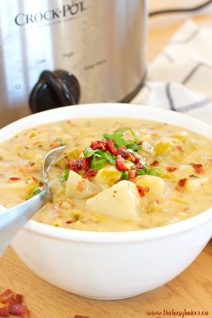 Crockpot Potato Soup Healthy  Crock Pot Potato Bacon Leek Soup Slow Cooker The Busy
