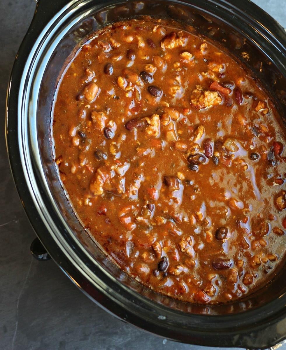 Crockpot Turkey Chili Healthy  Slow Cooker Turkey Chili