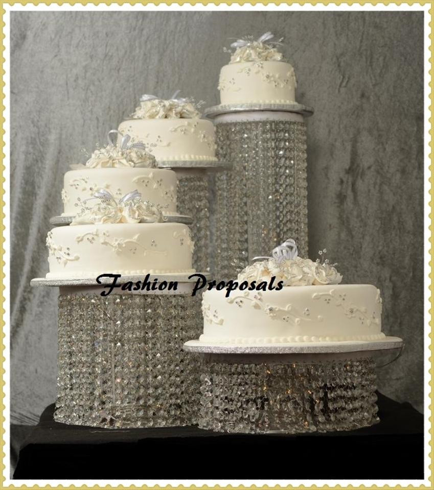 Crystal Cake Stands For Wedding Cakes  Wedding Cake Stand Cascade Waterfall Crystal Set 5