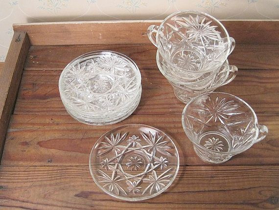 Crystal Wedding Oats  1960 s Crystal Wedding Oats Cups and Saucers Retro