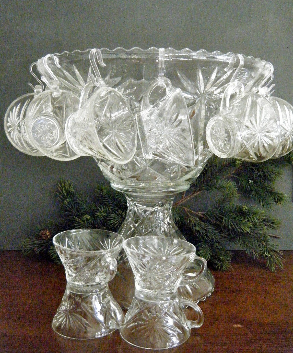 Crystal Wedding Oats  Early American Prescut Punch Bowl Set Bowl on Pedestal