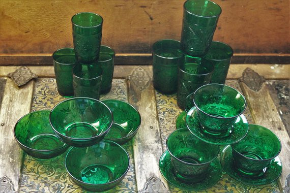 Crystal Wedding Oats  20 piece Anchor Hocking Green Oatmeal Glass Crystal Wedding
