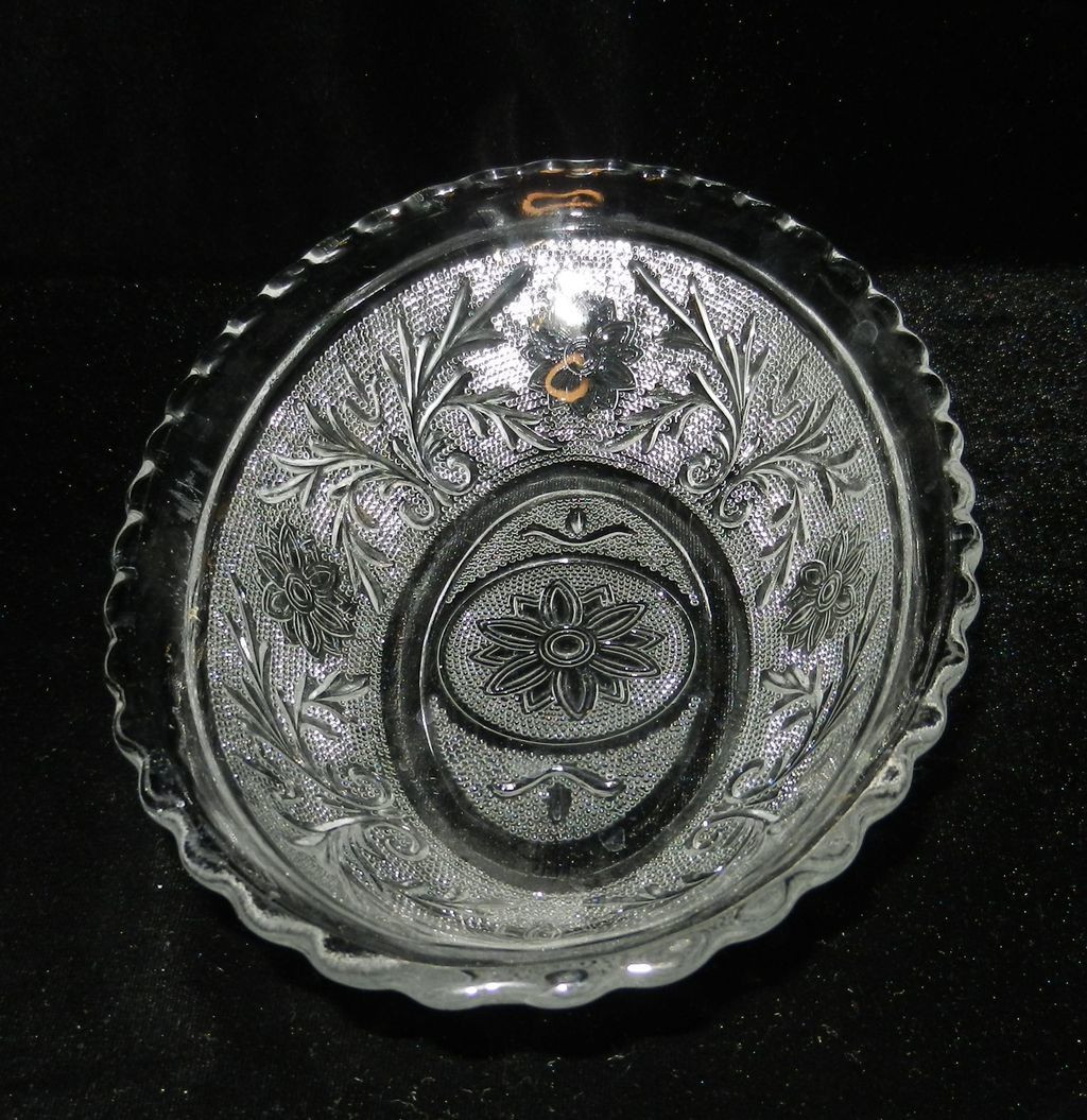 Crystal Wedding Oats  Vintage Anchor Hocking Sandwich Glass Relish Dish from