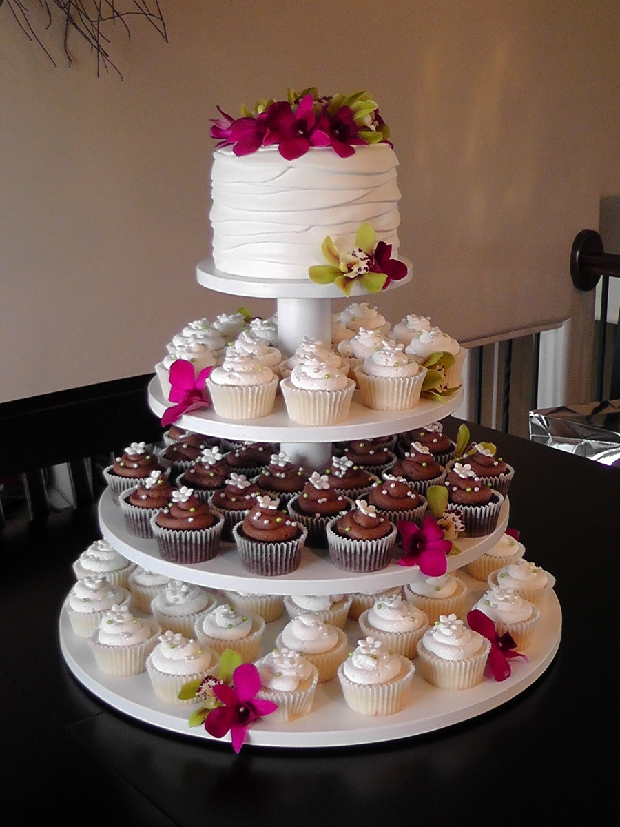 Cupcakes Wedding Cakes  Orchid Wedding Cupcake Tower CakeCentral