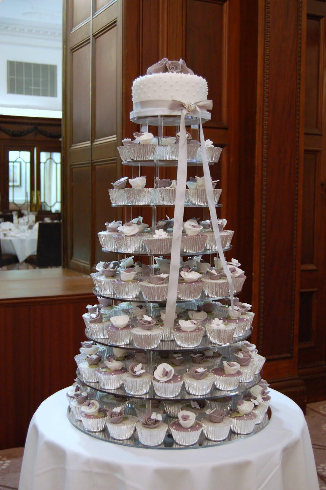 Cupcakes Wedding Cakes  iced Victorian Lilac Cupcake Wedding Cake