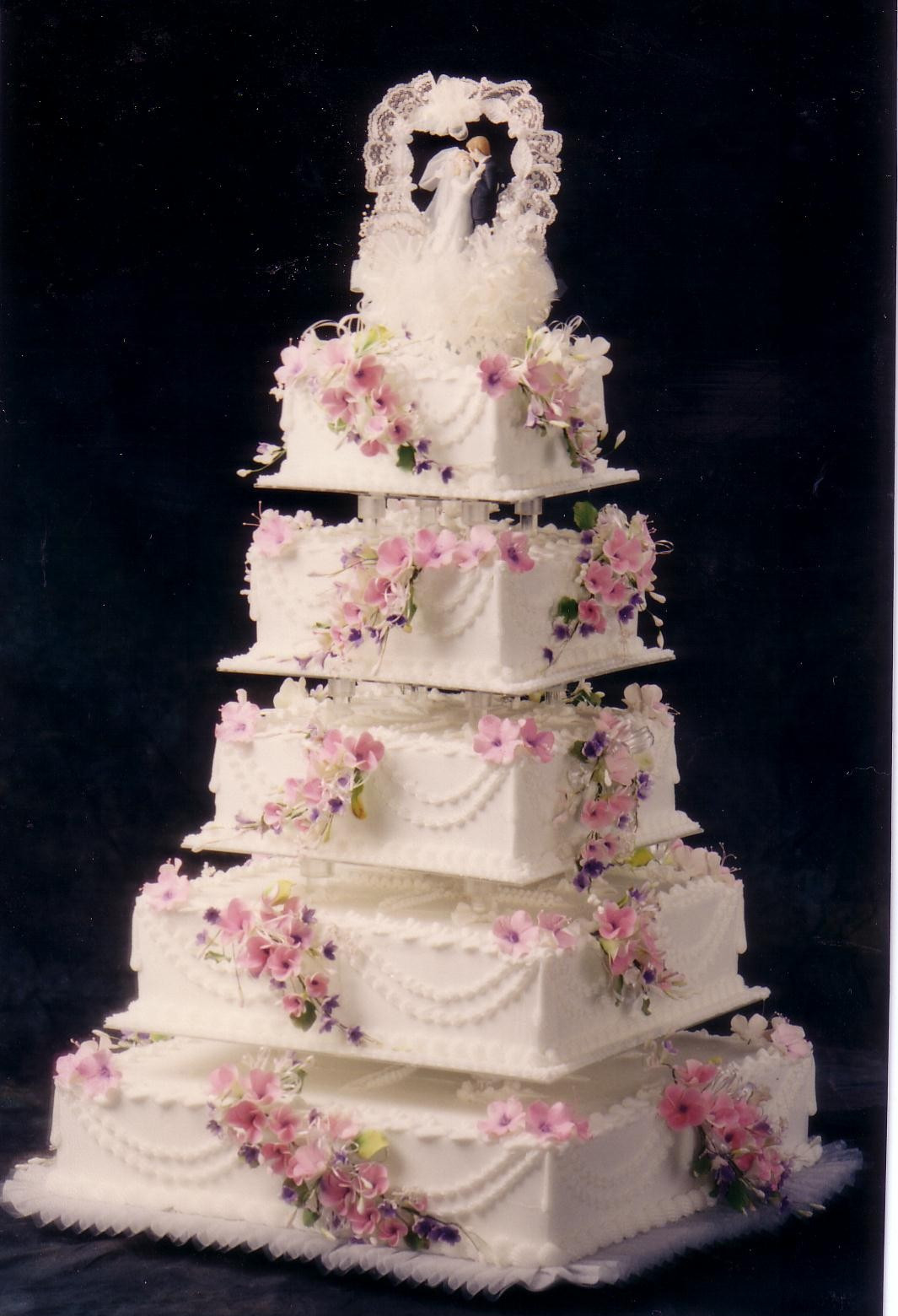 Custom Wedding Cakes  Square five tier fondant custom wedding cake pictures and