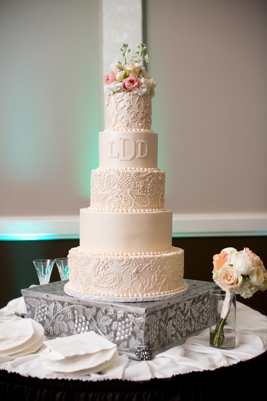 Custom Wedding Cakes  custom wedding cake blush lace detail monogram