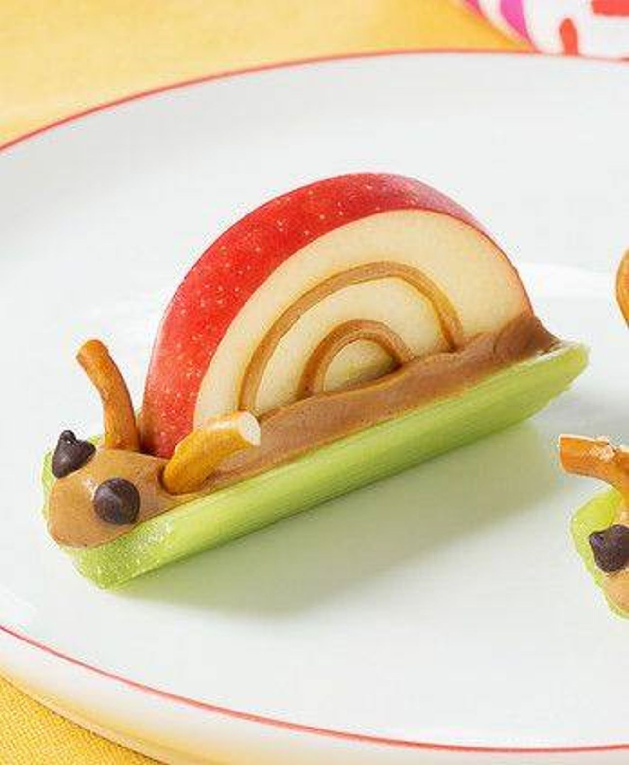 Cute Healthy Snacks  Caterpillar snack Celery apple peanut butter pretzel