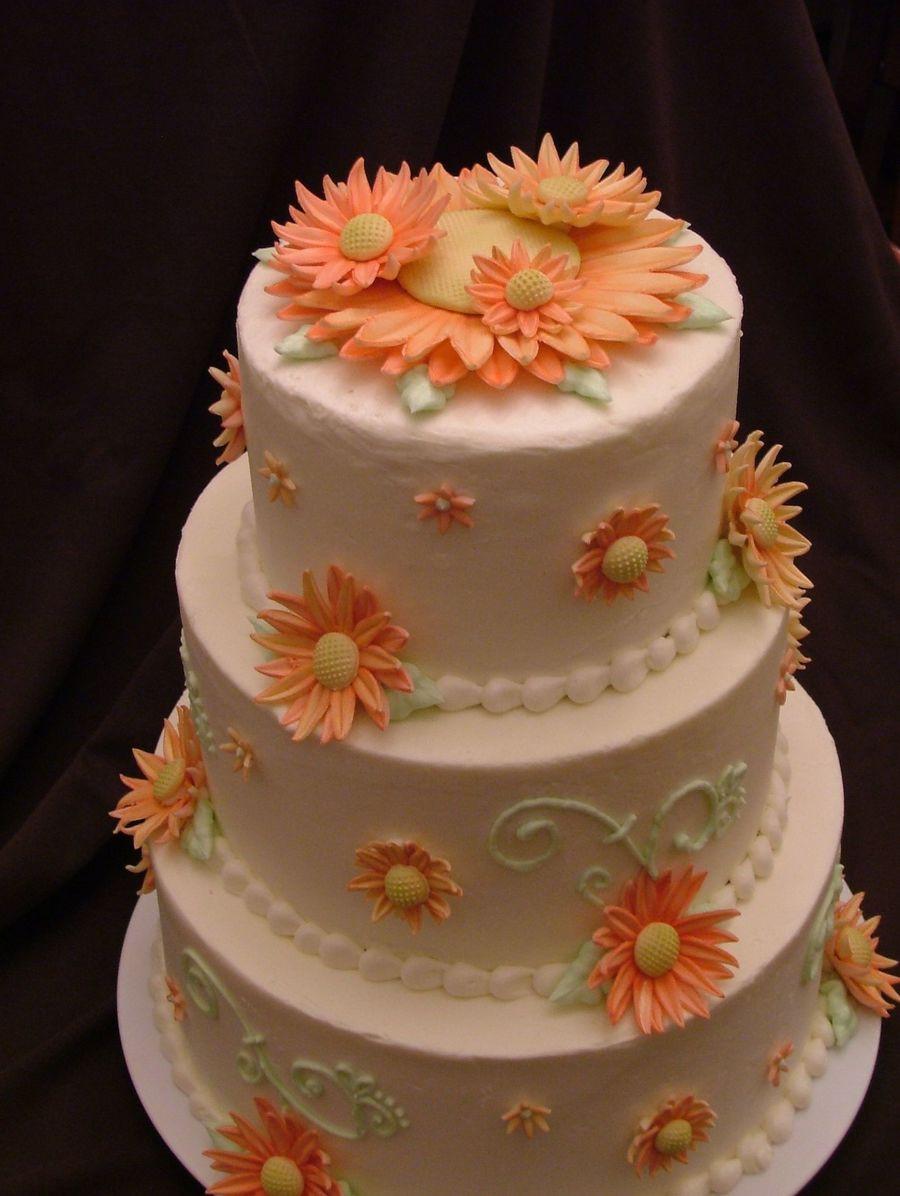 Daisy Wedding Cakes  Gerber Daisy Wedding Cake CakeCentral