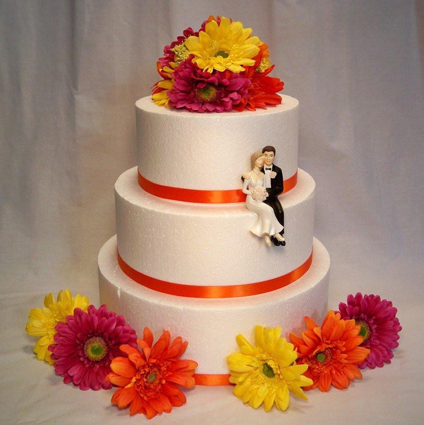 Daisy Wedding Cakes  Magenta Yellow Orange Gerbera Daisy Wedding Cake Topper