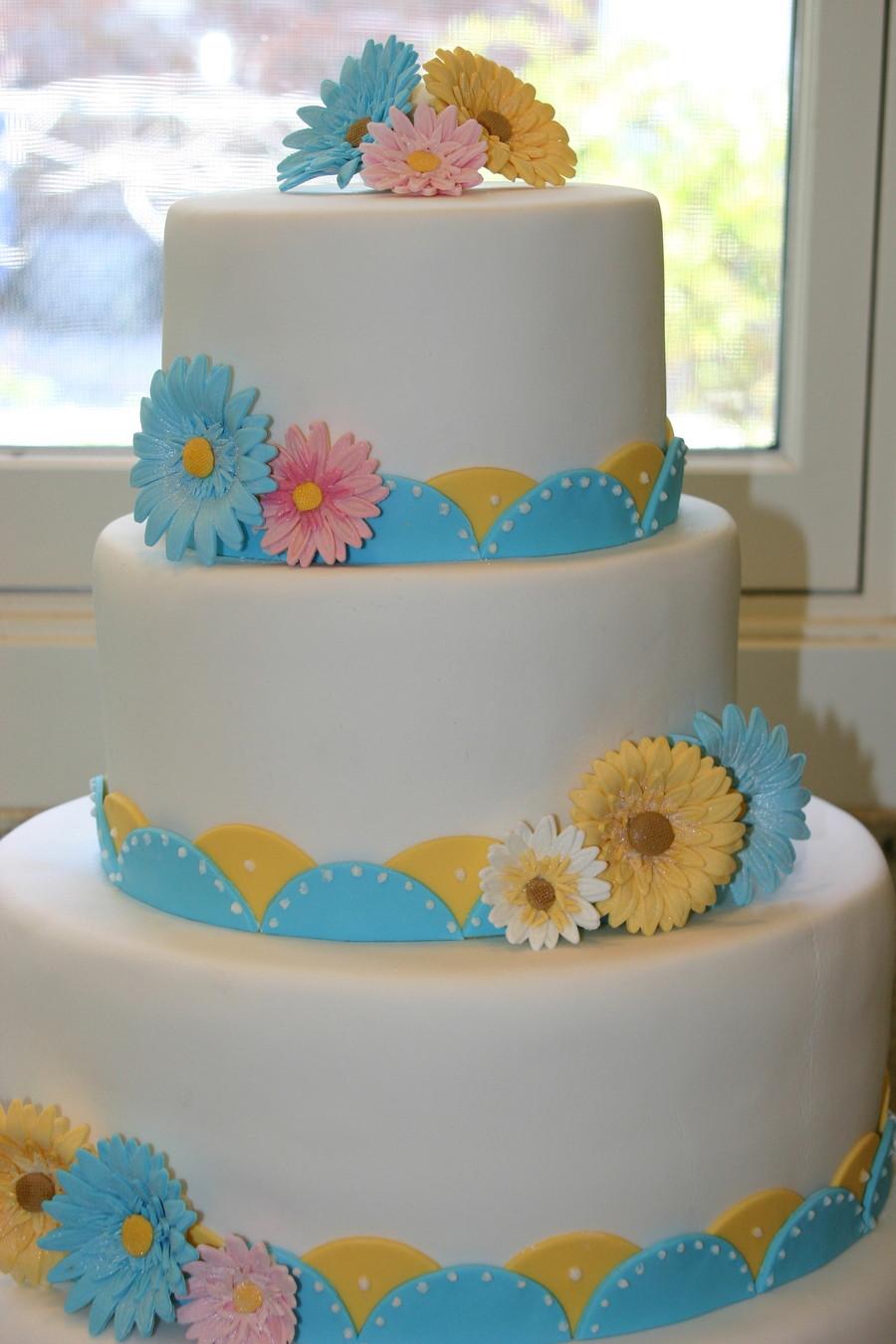 Daisy Wedding Cakes  Gerbera Daisy Wedding Cake CakeCentral