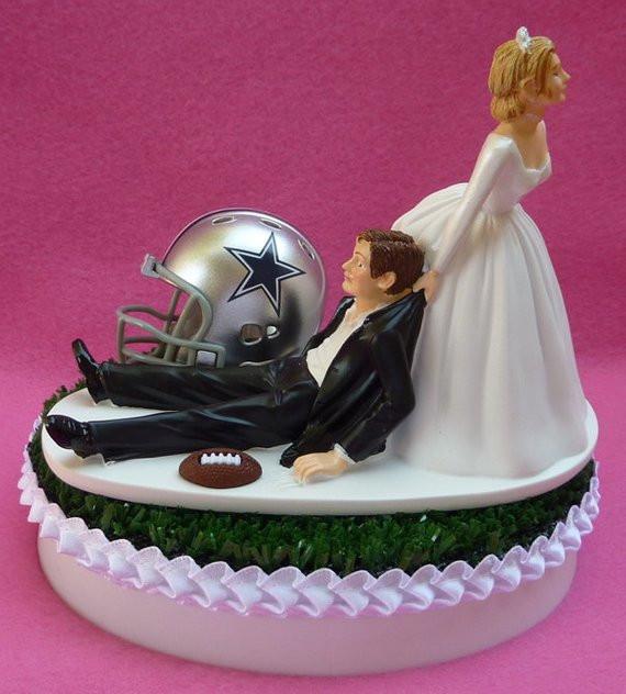 Dallas Cowboy Wedding Cakes  Wedding Cake Topper Dallas Cowboys Football Themed Sports Turf