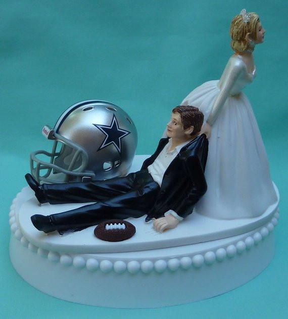 Dallas Cowboy Wedding Cakes  Wedding Cake Topper Dallas Cowboys Football Themed w Garter